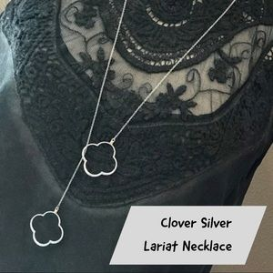 Jewelry - Silver Lariat Style Clover Necklace